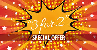 3 for 2 deal graphic